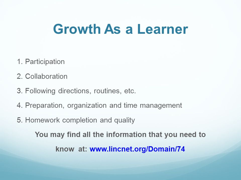 Growth As a Learner 1. Participation 2. Collaboration 3.