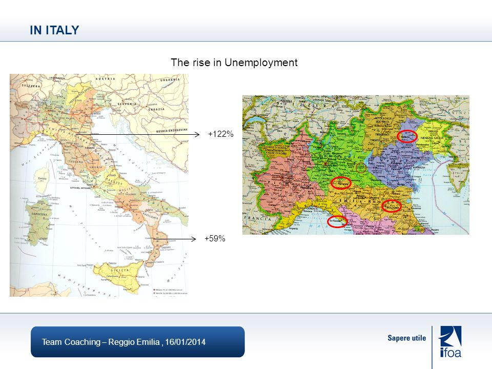 IN ITALY Team Coaching – Reggio Emilia, 16/01/2014 The rise in Unemployment +122% +59%