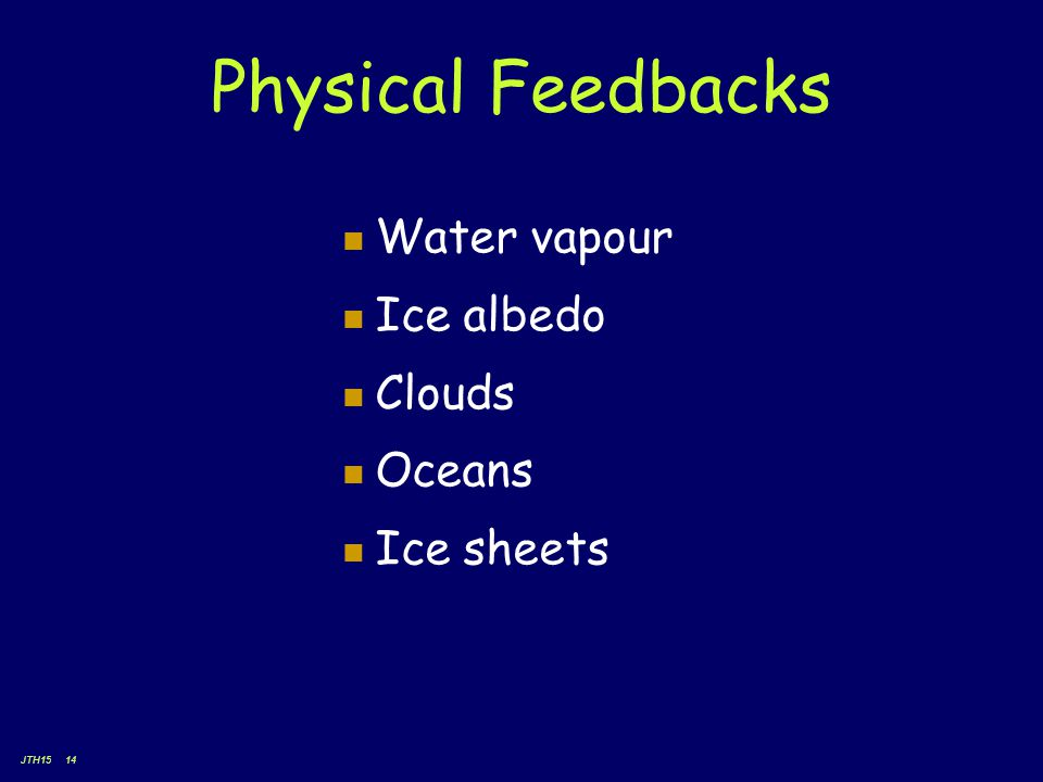 JTH15 14 Physical Feedbacks Water vapour Ice albedo Clouds Oceans Ice sheets