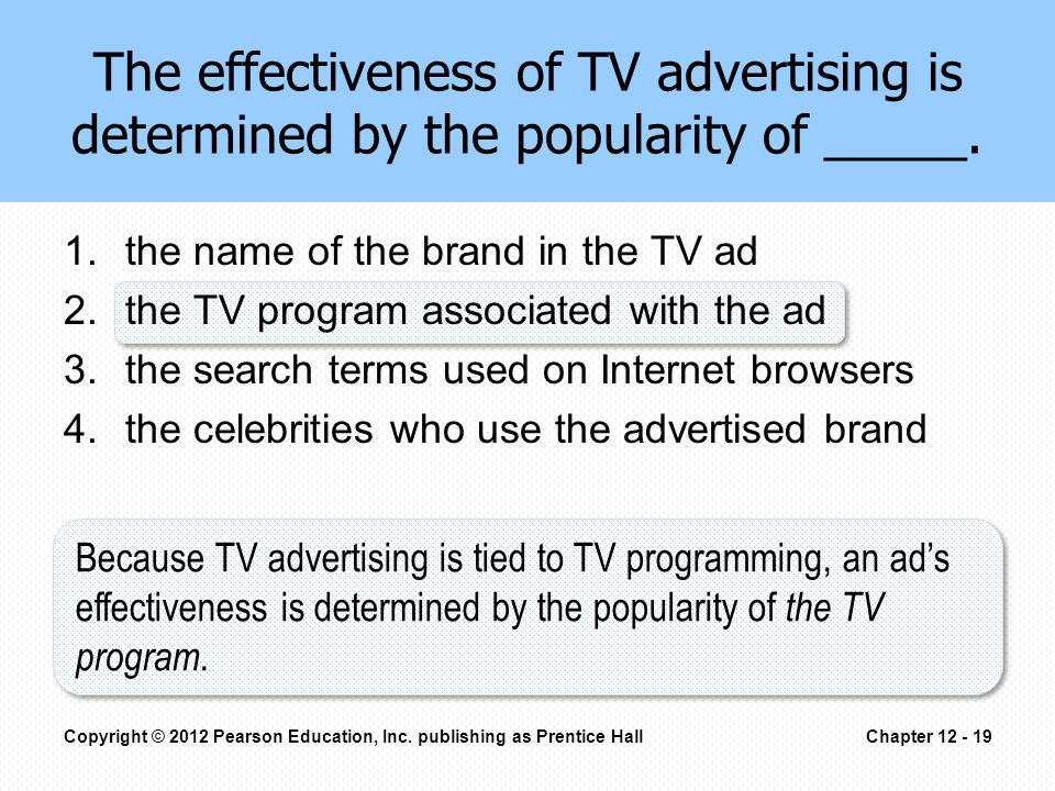 The effectiveness of TV advertising is determined by the popularity of _____.