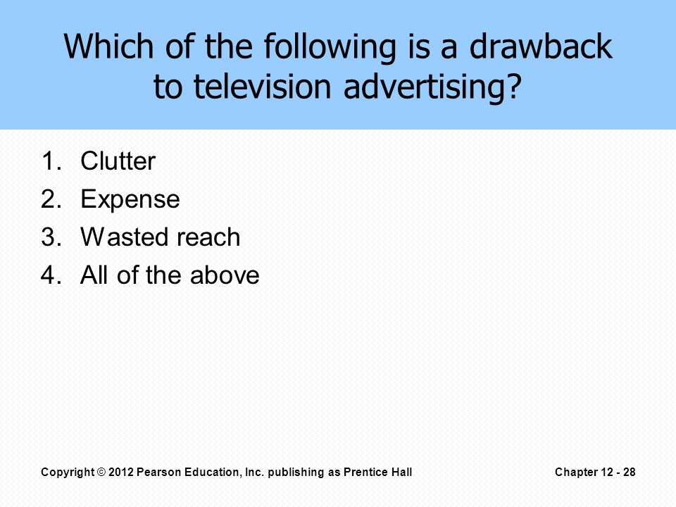 Which of the following is a drawback to television advertising.