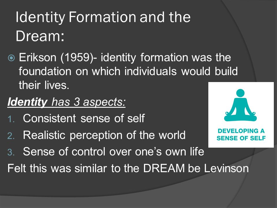 Identity Formation and the Dream:  Erikson (1959)- identity formation was the foundation on which individuals would build their lives.