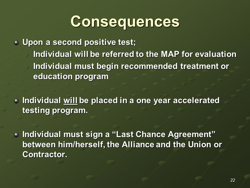 22Consequences Upon a second positive test; Individual will be referred to the MAP for evaluation Individual will be referred to the MAP for evaluation Individual must begin recommended treatment or education program Individual must begin recommended treatment or education program Individual will be placed in a one year accelerated testing program.