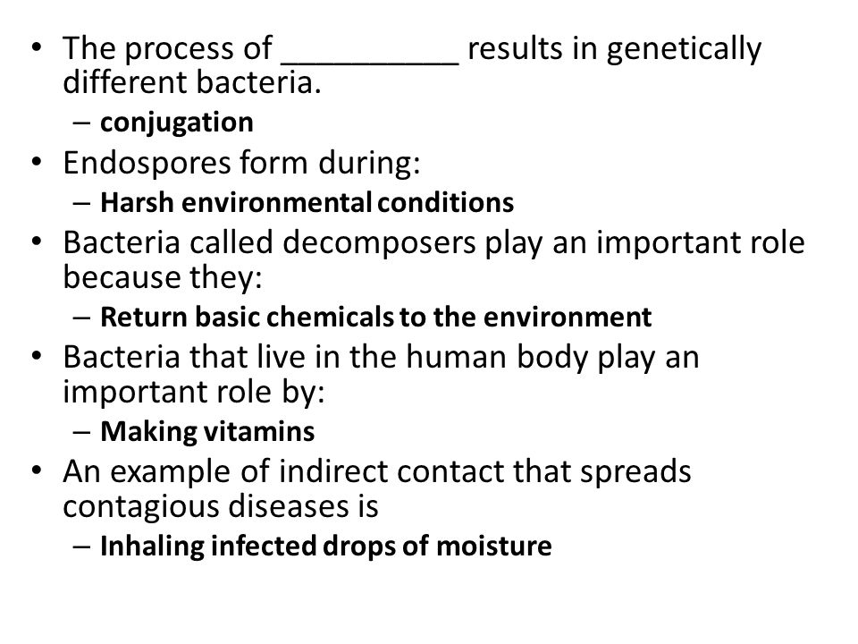 The process of __________ results in genetically different bacteria.