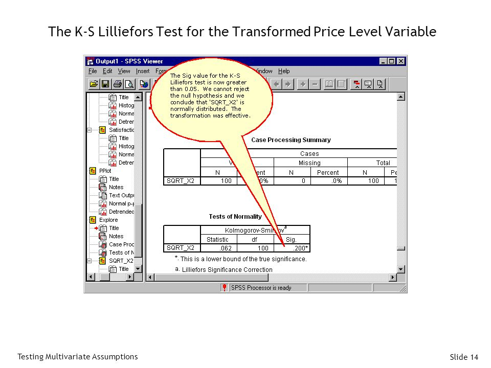 Slide 14 The K-S Lilliefors Test for the Transformed Price Level Variable Testing Multivariate Assumptions