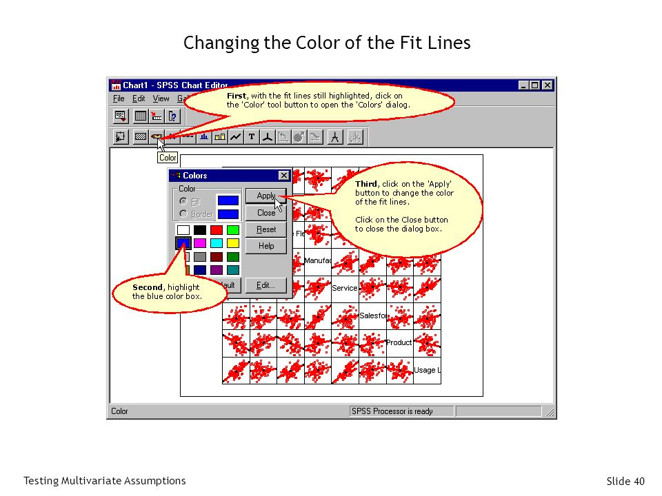 Slide 40 Changing the Color of the Fit Lines Testing Multivariate Assumptions