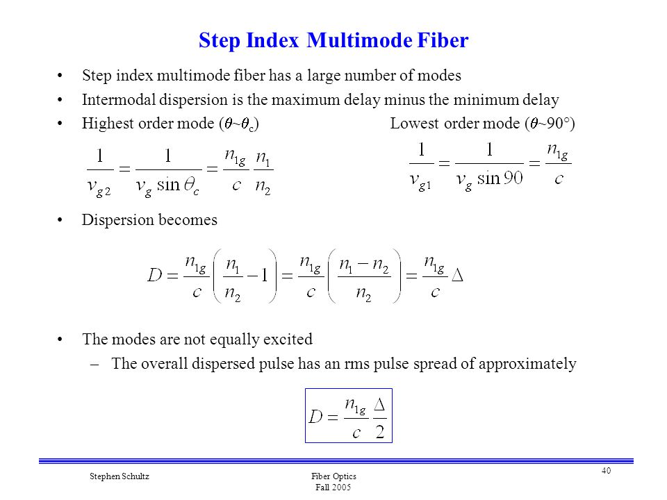40 Stephen SchultzFiber Optics Fall 2005 Step Index Multimode Fiber Step index multimode fiber has a large number of modes Intermodal dispersion is the maximum delay minus the minimum delay Highest order mode (  ~  c )Lowest order mode (  ~90°) Dispersion becomes The modes are not equally excited –The overall dispersed pulse has an rms pulse spread of approximately