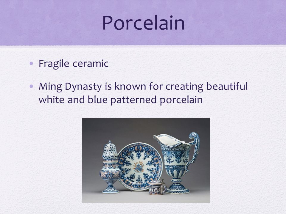 Porcelain Fragile ceramic Ming Dynasty is known for creating beautiful white and blue patterned porcelain