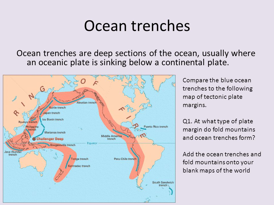 What landforms are found at different plate boundaries? Fold ...
