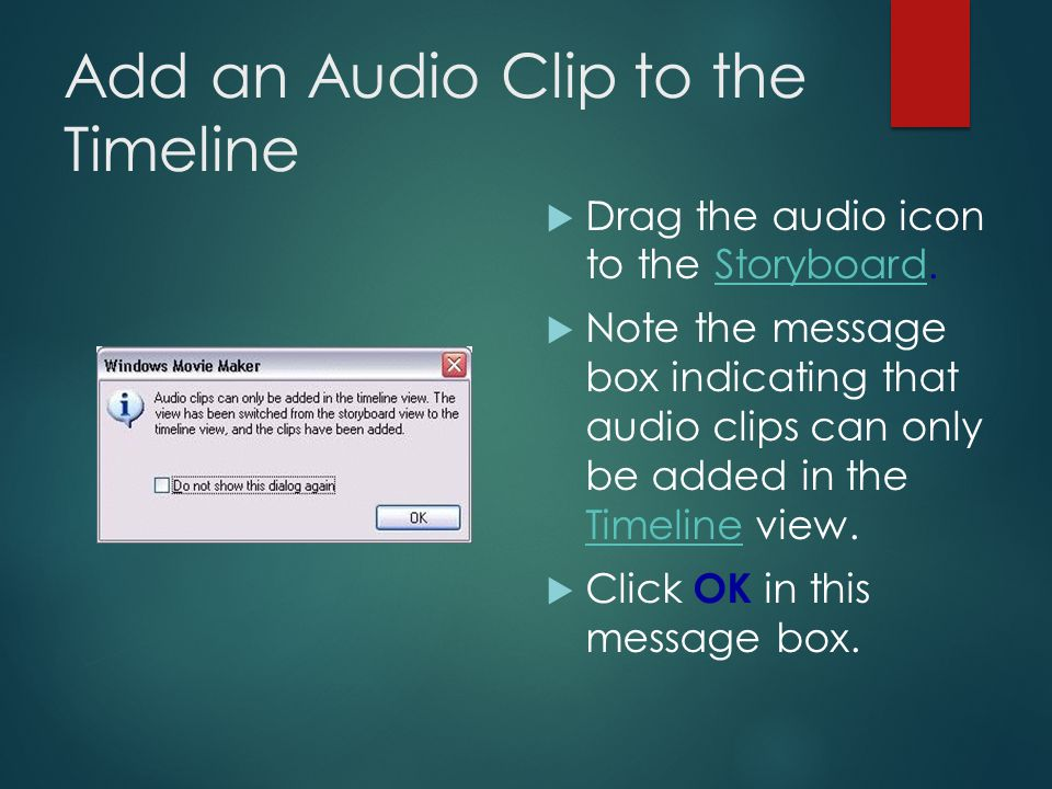 Import an Audio File  Any music, sound file or narration file is known as an audio file.