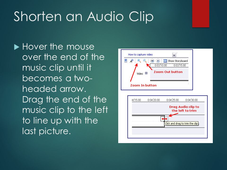 Timeline View of the Audio Clip  The Timeline indicates how much time each item takes up over the course of the whole movie.