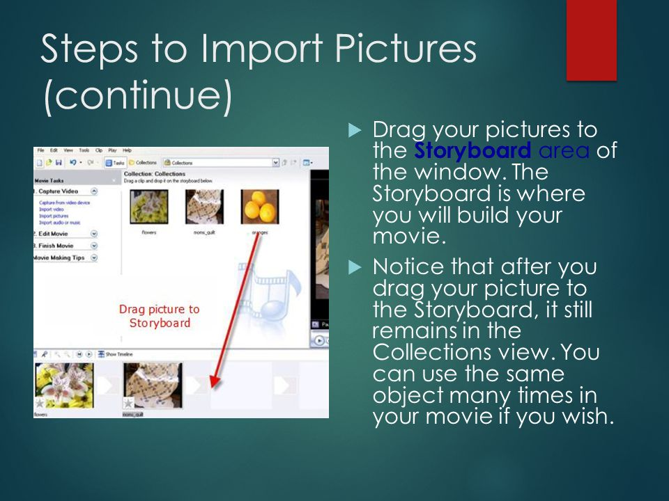 Steps to Import Pictures (continue)  3) Your pictures should now appear in the Collections view.
