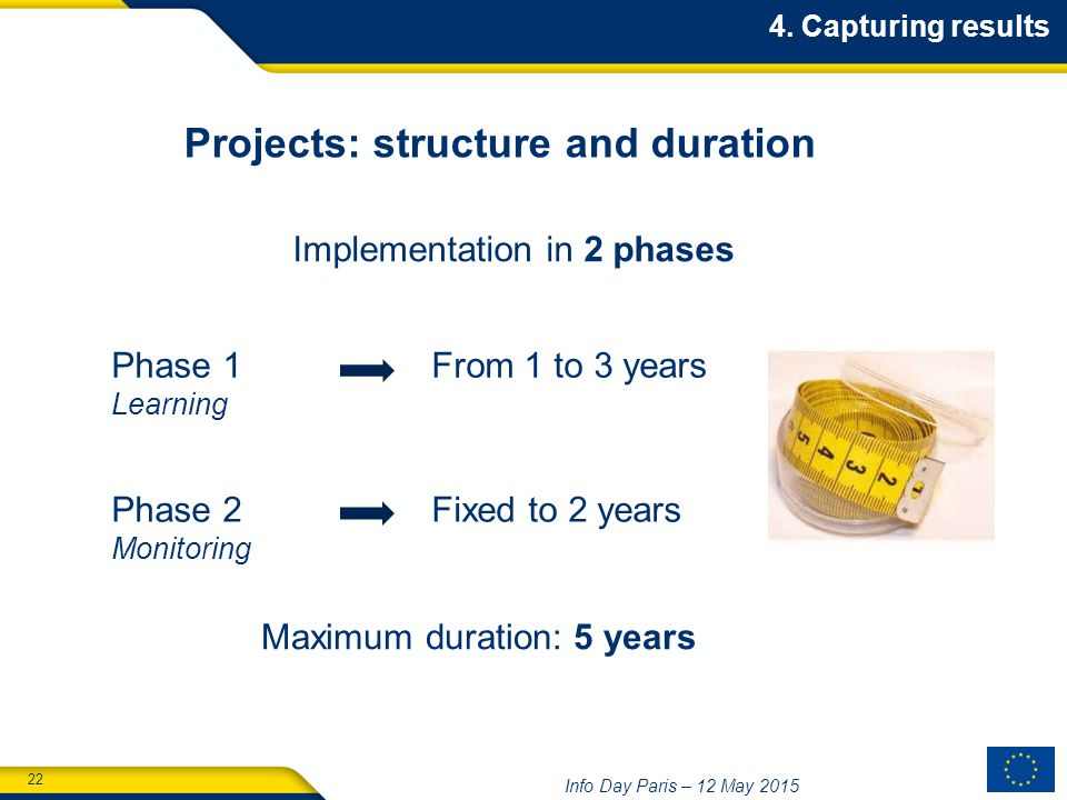 22 Info Day Paris – 12 May 2015 Projects: structure and duration Phase 1 From 1 to 3 years Learning Phase 2 Fixed to 2 years Monitoring Implementation in 2 phases Maximum duration: 5 years 4.