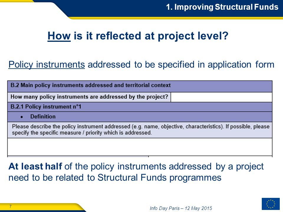 7 Info Day Paris – 12 May Improving Structural Funds How is it reflected at project level.