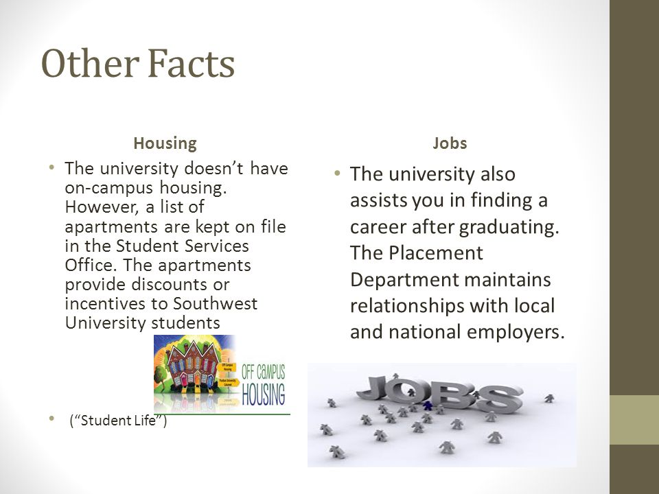 Other Facts Housing The university doesn't have on-campus housing.