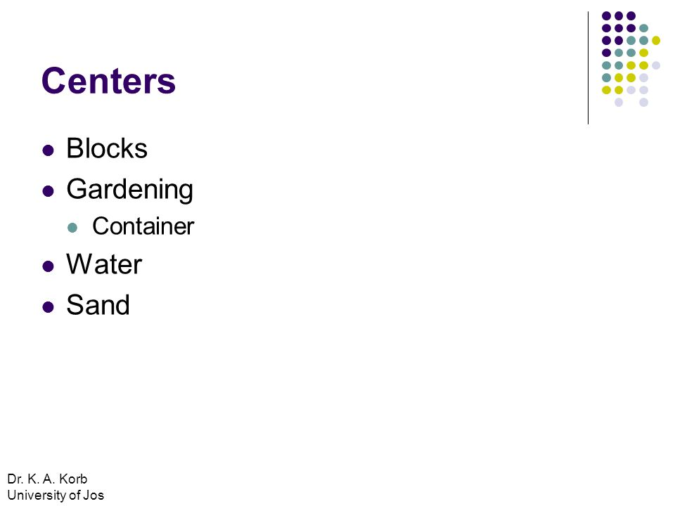 Centers Blocks Gardening Container Water Sand Dr. K. A. Korb University of Jos