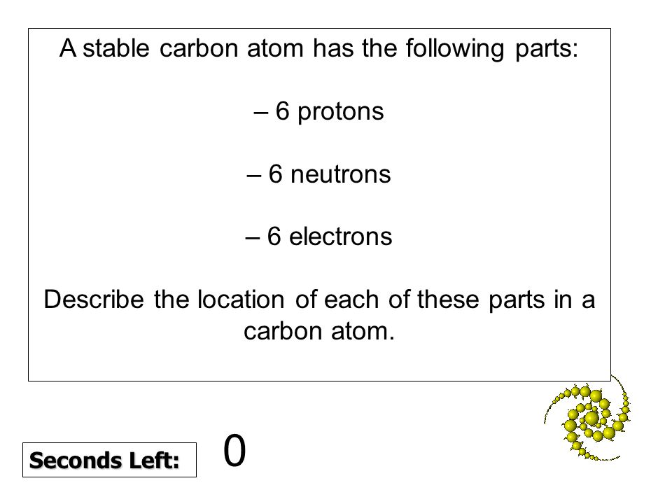Seconds Left: A stable carbon atom has the following parts: – 6 protons – 6 neutrons – 6 electrons Describe the location of each of these parts in a carbon atom.