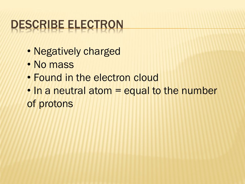 Negatively charged No mass Found in the electron cloud In a neutral atom = equal to the number of protons