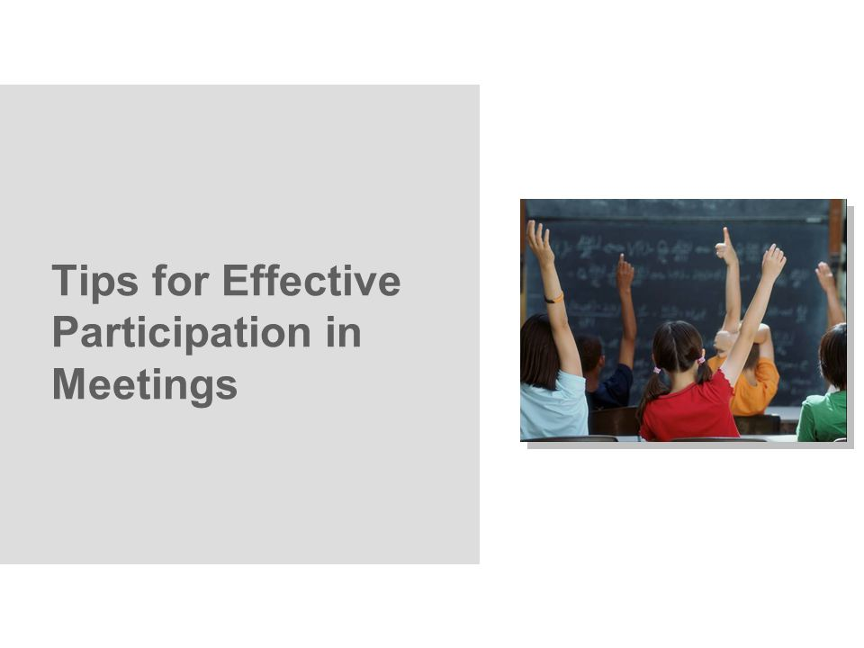 Tips for Effective Participation in Meetings