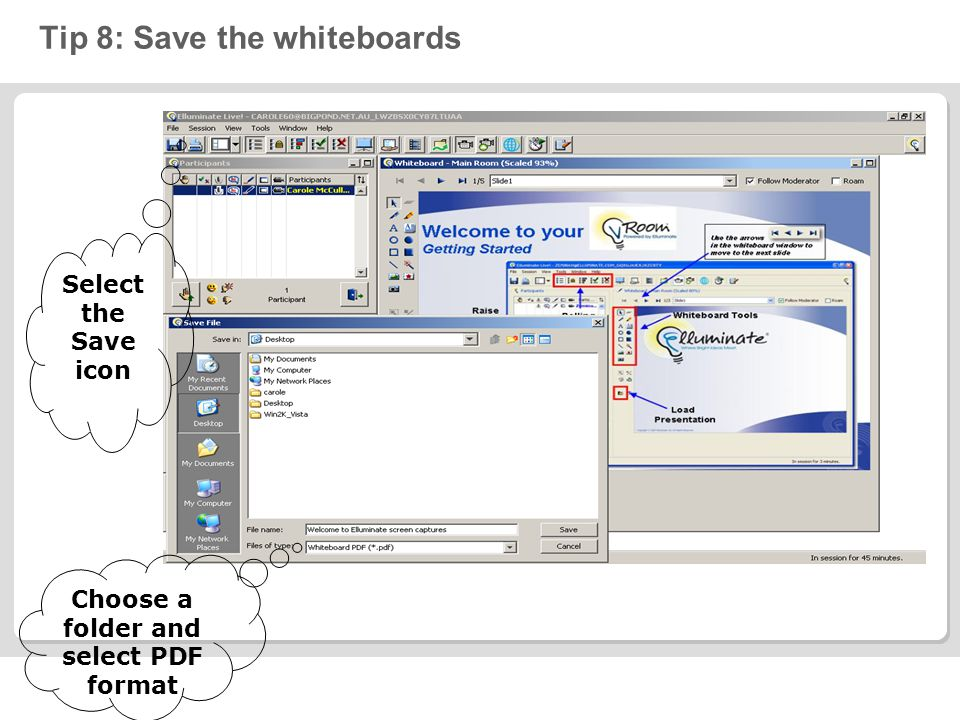 Tip 8: Save the whiteboards Select the Save icon Choose a folder and select PDF format