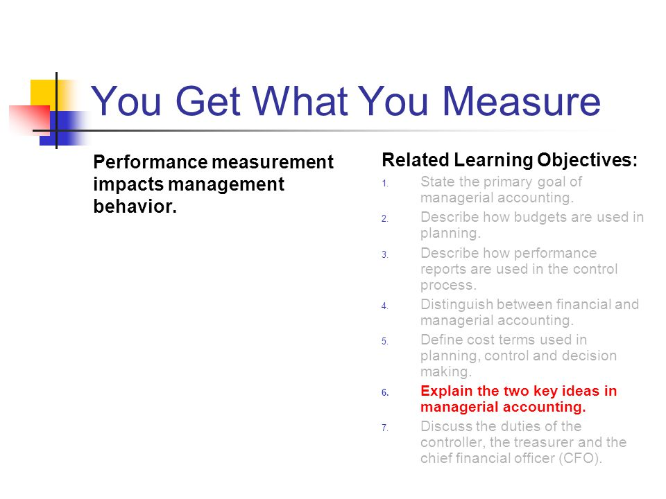 You Get What You Measure Performance measurement impacts management behavior.