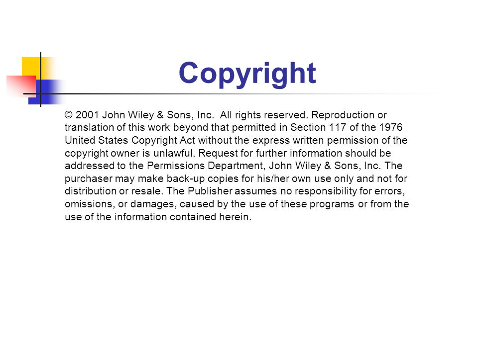 Copyright © 2001 John Wiley & Sons, Inc. All rights reserved.