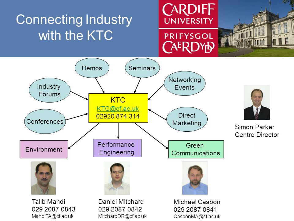 Connecting Industry with the KTC Performance Engineering KTC SeminarsDemos Networking Events Industry Forums Conferences Direct Marketing Environment Green Communications Talib Mahdi Daniel Mitchard Michael Casbon Simon Parker Centre Director
