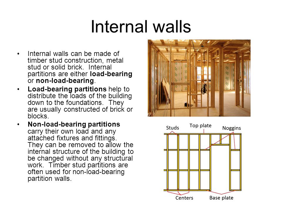 28 Internal Walls Internal Walls Can Be Made Of Timber Stud Construction,  Metal Stud Or Solid Brick. Internal Partitions Are Either Load Bearing Or  ...