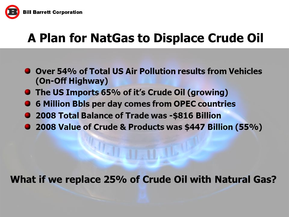 26 A Plan for NatGas to Displace Crude Oil What if we replace 25% of Crude Oil with Natural Gas.