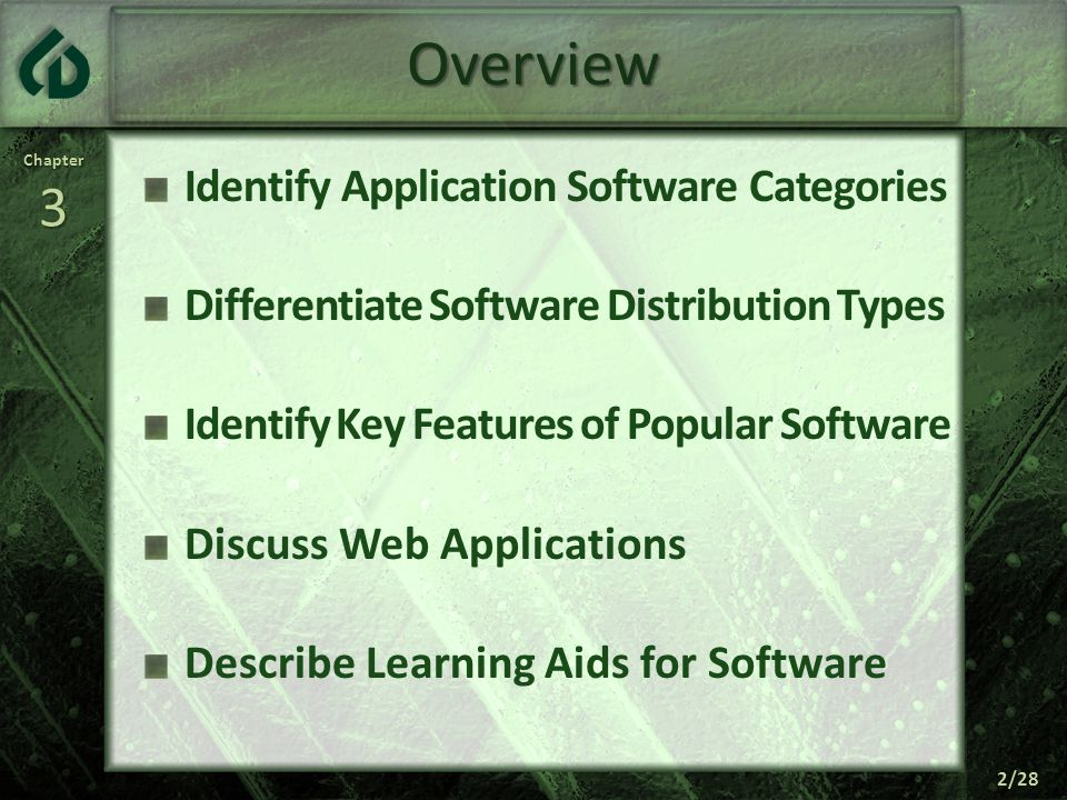 Chapter3 2/28 Overview Identify Application Software Categories Differentiate Software Distribution Types Identify Key Features of Popular Software Discuss Web Applications Describe Learning Aids for Software