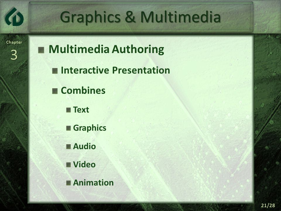 Chapter3 21/28 Graphics & Multimedia Multimedia Authoring Interactive Presentation Combines Text Graphics Audio Video Animation