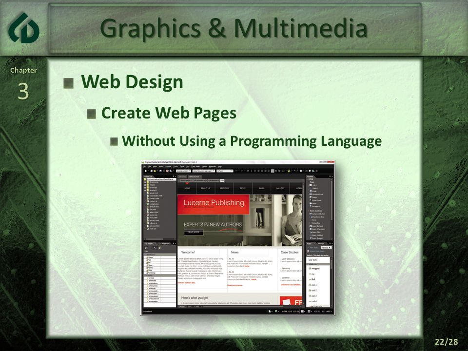 Chapter3 22/28 Graphics & Multimedia Web Design Create Web Pages Without Using a Programming Language