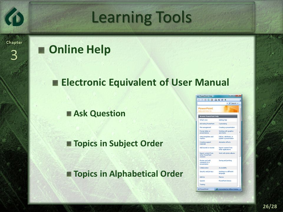 Chapter3 26/28 Learning Tools Online Help Electronic Equivalent of User Manual Ask Question Topics in Subject Order Topics in Alphabetical Order