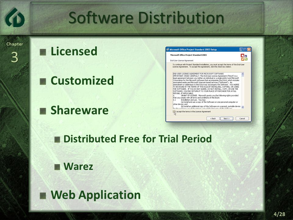 Chapter3 4/28 Software Distribution Licensed Customized Shareware Distributed Free for Trial Period Warez Web Application