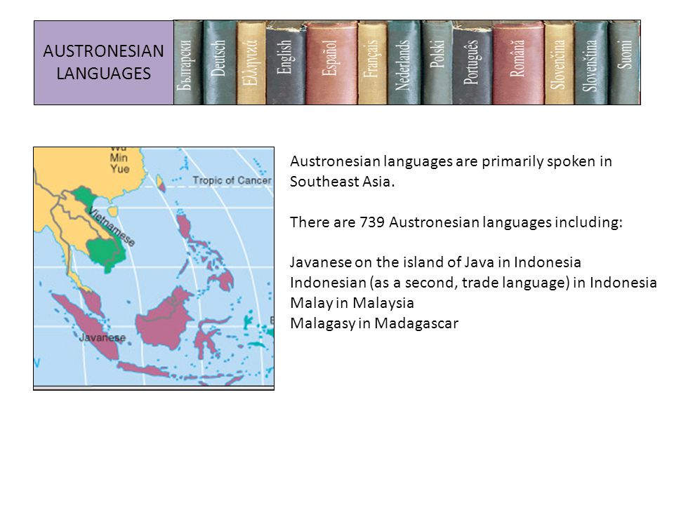 Austronesian languages are primarily spoken in Southeast Asia.