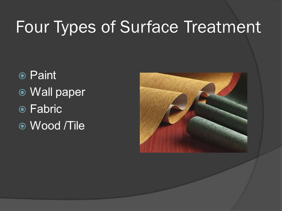 Four Types of Surface Treatment  Paint  Wall paper  Fabric  Wood /Tile