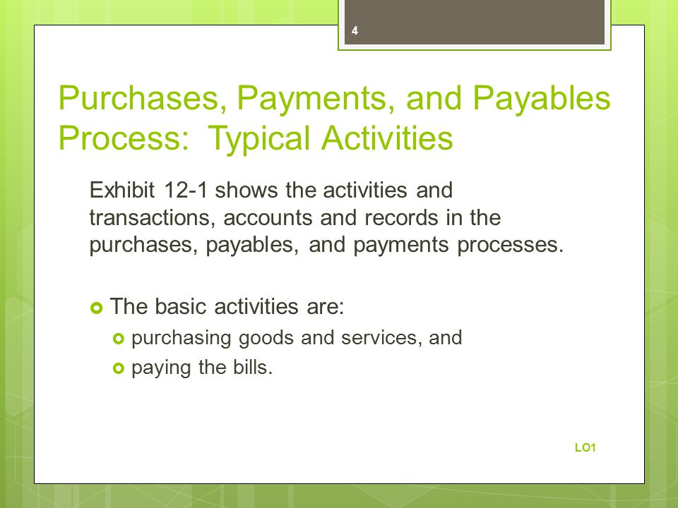 Purchases, Payments, and Payables Process: Typical Activities Exhibit 12-1 shows the activities and transactions, accounts and records in the purchases, payables, and payments processes.