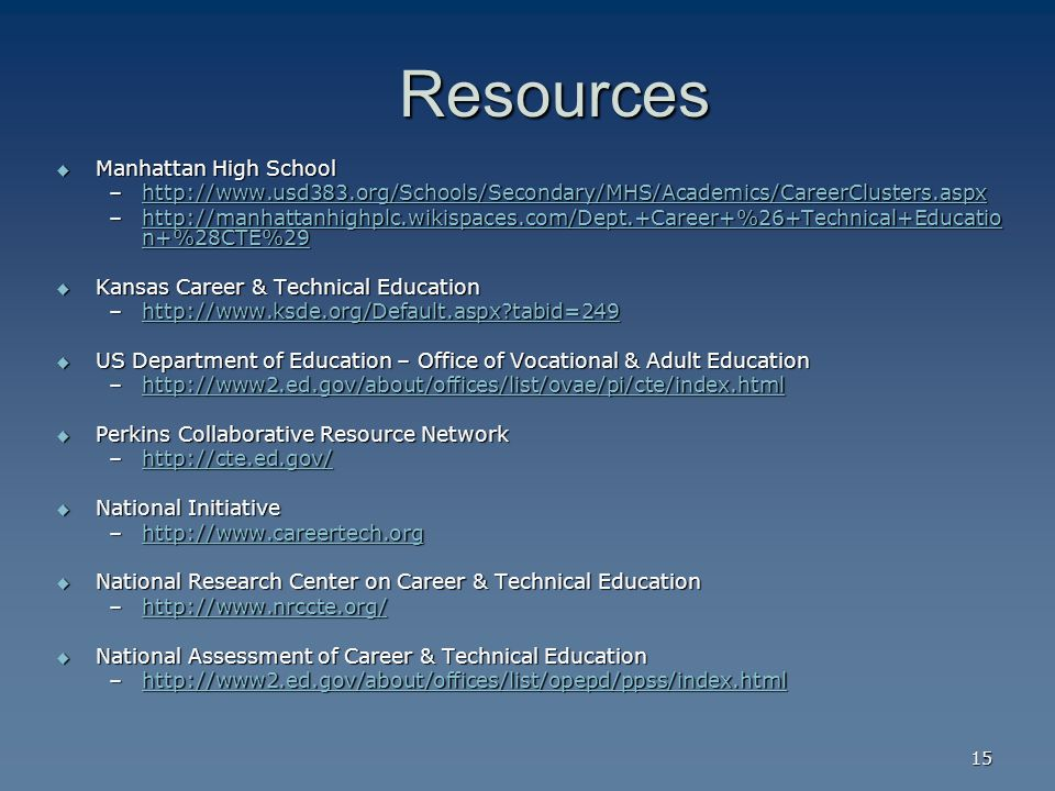 15 Resources Resources  Manhattan High School –    –  n+%28CTE%29   n+%28CTE%29http://manhattanhighplc.wikispaces.com/Dept.+Career+%26+Technical+Educatio n+%28CTE%29  Kansas Career & Technical Education –  tabid=249   tabid=249  US Department of Education – Office of Vocational & Adult Education –     Perkins Collaborative Resource Network –     National Initiative –     National Research Center on Career & Technical Education –     National Assessment of Career & Technical Education –