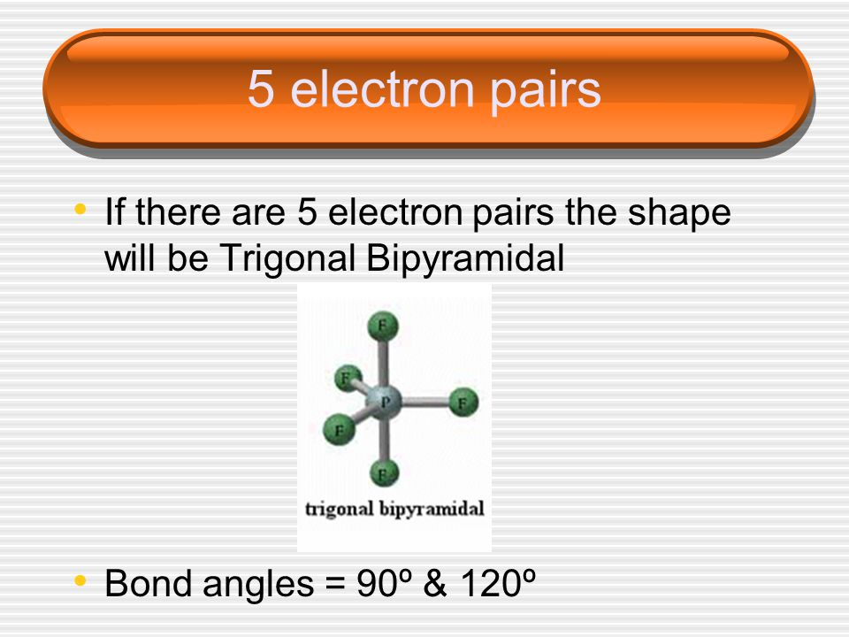 5 electron pairs If there are 5 electron pairs the shape will be Trigonal Bipyramidal Bond angles = 90º & 120º