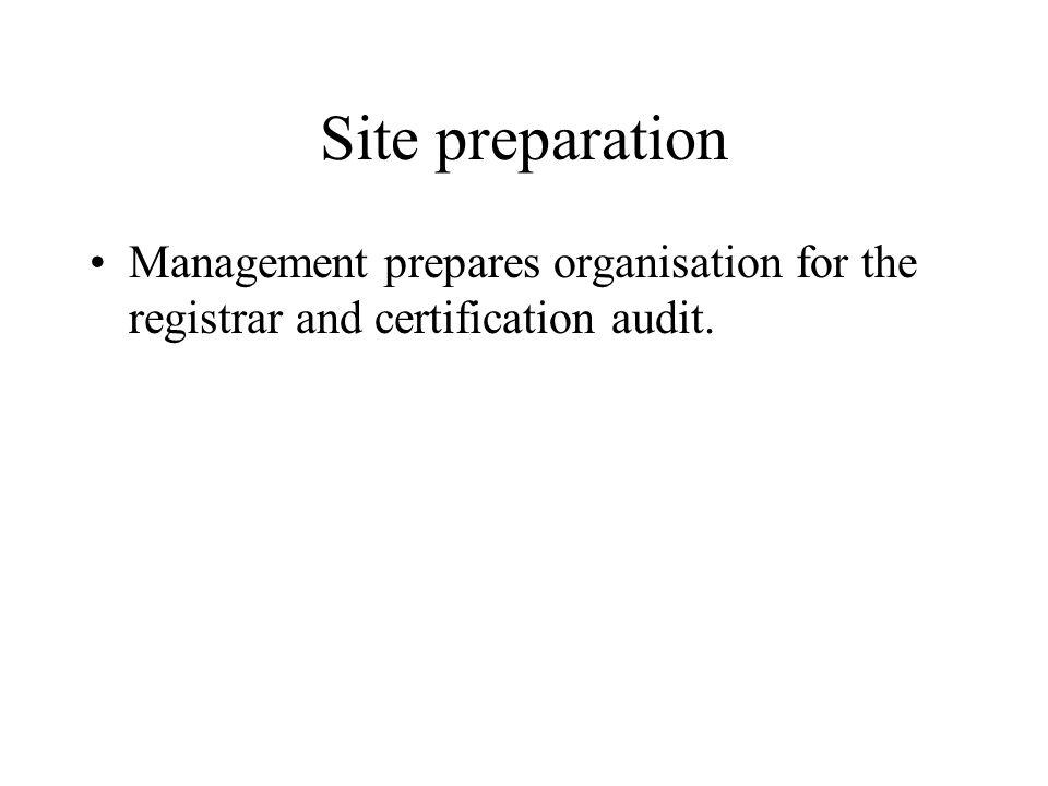 Site preparation Management prepares organisation for the registrar and certification audit.