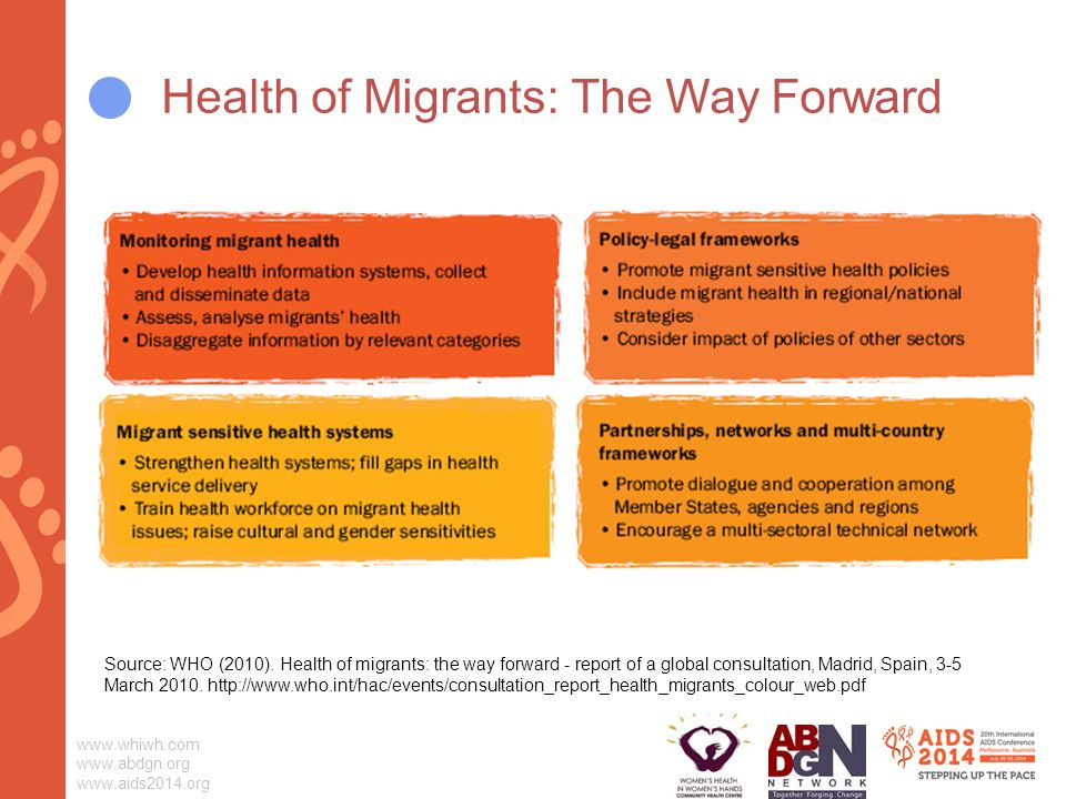 Health of Migrants: The Way Forward Source: WHO (2010).