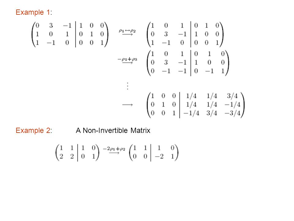 Example 1: Example 2: A Non-Invertible Matrix