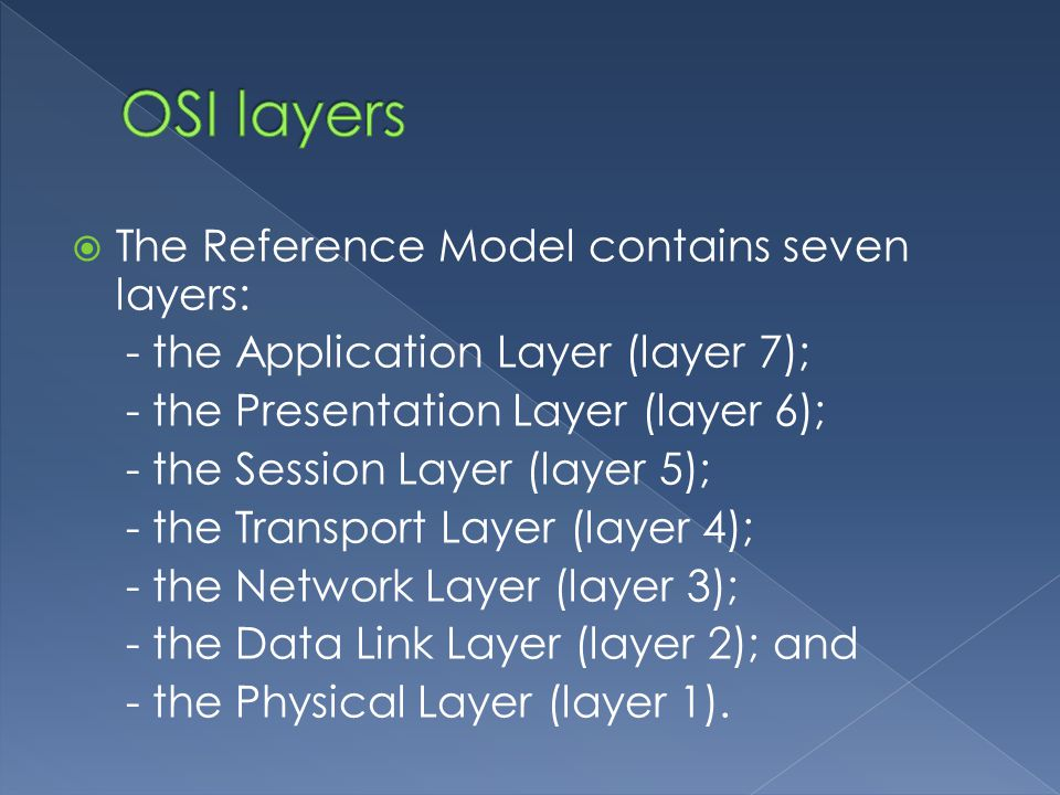  The Reference Model contains seven layers: - the Application Layer (layer 7); - the Presentation Layer (layer 6); - the Session Layer (layer 5); - the Transport Layer (layer 4); - the Network Layer (layer 3); - the Data Link Layer (layer 2); and - the Physical Layer (layer 1).