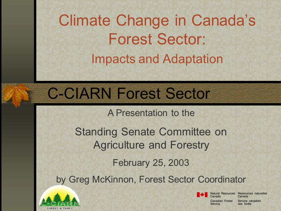 Climate Change in Canada's Forest Sector: Impacts and Adaptation A Presentation to the Standing Senate Committee on Agriculture and Forestry February 25, 2003 by Greg McKinnon, Forest Sector Coordinator C-CIARN Forest Sector