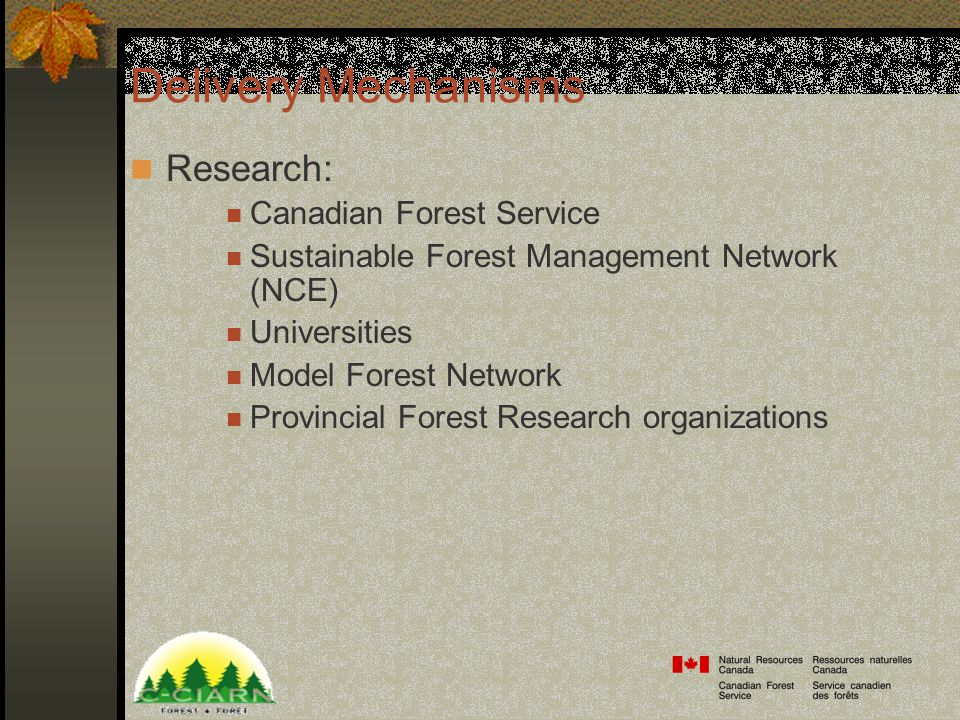 Delivery Mechanisms Research: Canadian Forest Service Sustainable Forest Management Network (NCE) Universities Model Forest Network Provincial Forest Research organizations
