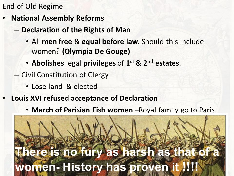 End of Old Regime National Assembly Reforms – Declaration of the Rights of Man All men free & equal before law.