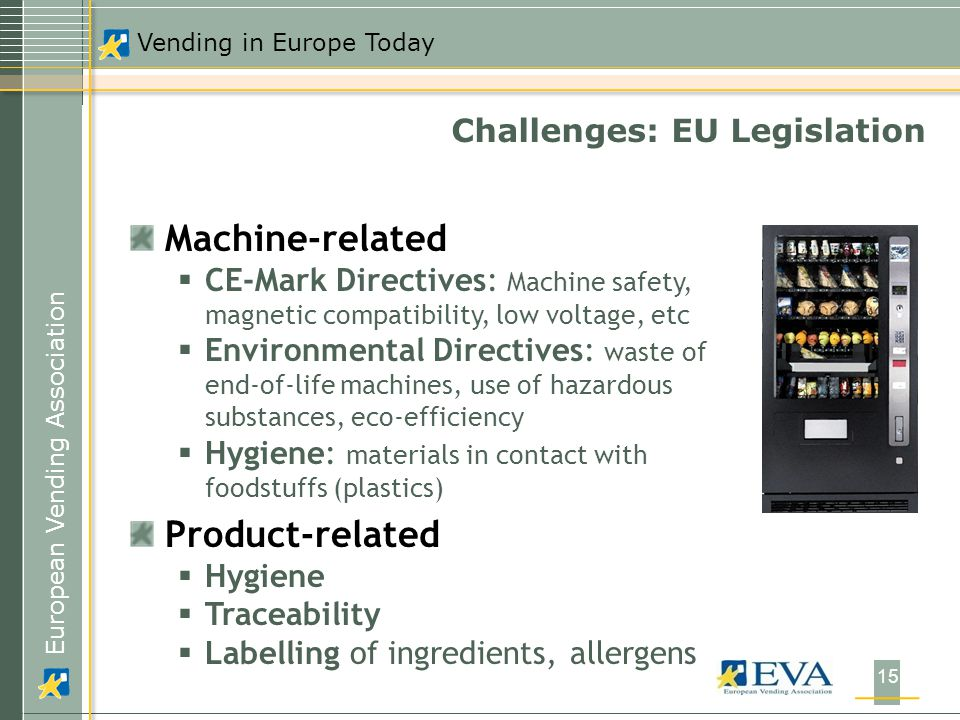 European Vending Association Vending in Europe Today 15 Machine-related  CE-Mark Directives: Machine safety, magnetic compatibility, low voltage, etc  Environmental Directives: waste of end-of-life machines, use of hazardous substances, eco-efficiency  Hygiene: materials in contact with foodstuffs (plastics) Product-related  Hygiene  Traceability  Labelling of ingredients, allergens Challenges: EU Legislation