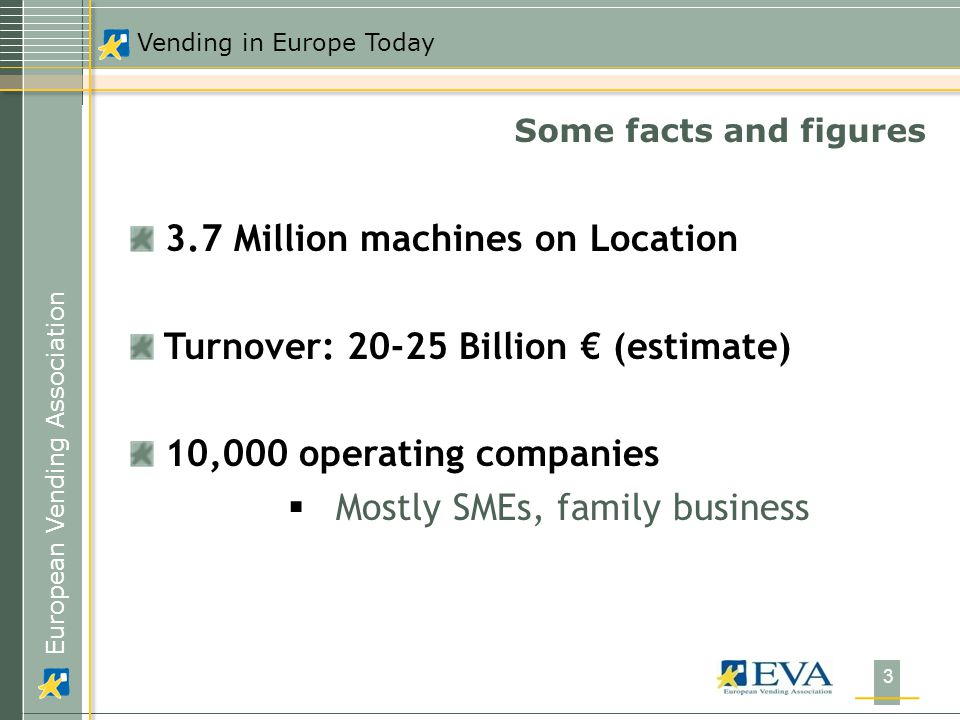 European Vending Association Vending in Europe Today 3 Some facts and figures 3.7 Million machines on Location Turnover: Billion € (estimate) 10,000 operating companies  Mostly SMEs, family business