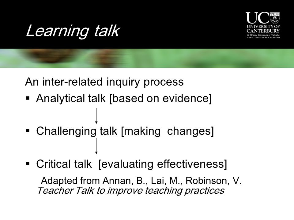Learning talk An inter-related inquiry process  Analytical talk [based on evidence]  Challenging talk [making changes]  Critical talk [evaluating effectiveness] Adapted from Annan, B., Lai, M., Robinson, V.