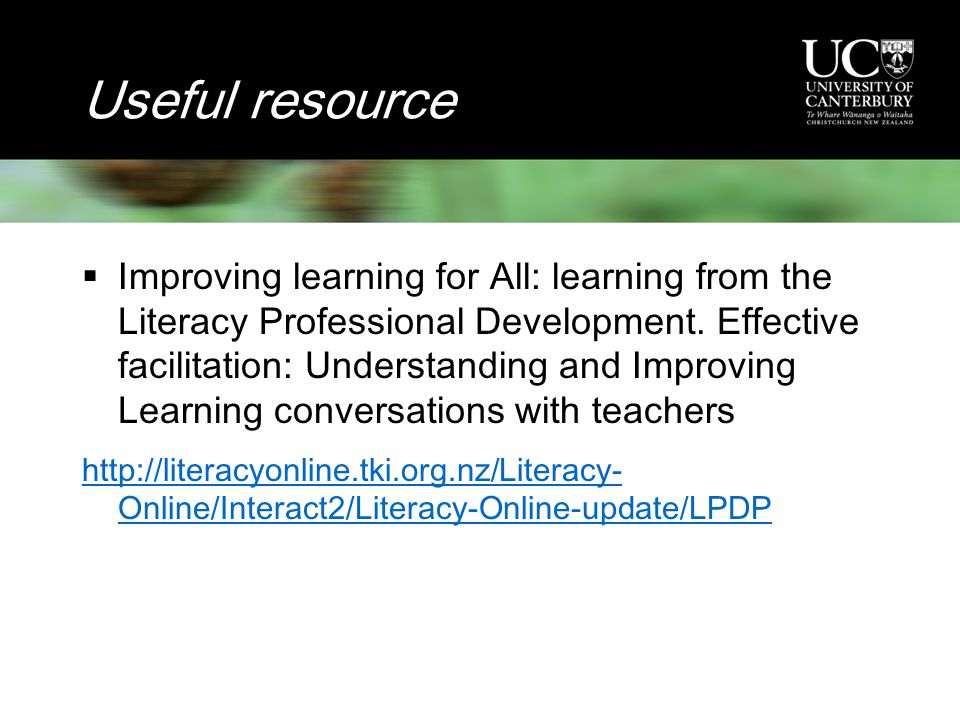 Useful resource  Improving learning for All: learning from the Literacy Professional Development.